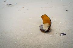 Botella de cristal quebrada en la arena Fotos de archivo libres de regalías