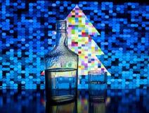 Botella de cristal de vodka Imagenes de archivo