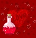 Botella de elixir del amor Imágenes de archivo libres de regalías