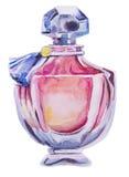 Botella de la acuarela con perfume Imagenes de archivo