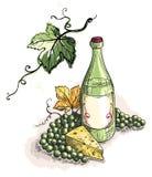 Botella de la acuarela de vino, de uvas y de queso aislados en blanco stock de ilustración