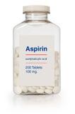 Botella de la aspirina Imagen de archivo libre de regalías