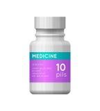 Botella de la medicina con la etiqueta Fotos de archivo