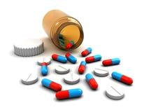 Botella de la medicina con las píldoras Fotografía de archivo libre de regalías