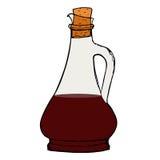 Botella de la salsa del vinagre balsámico con el corcho Imagenes de archivo