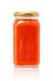 Botella de la salsa para pasta aislada en el fondo blanco Imagenes de archivo