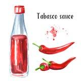 Botella de la salsa de Tabasco y sistema candente de la pimienta de chile Ejemplo dibujado mano de la acuarela, aislado en el fon Imágenes de archivo libres de regalías