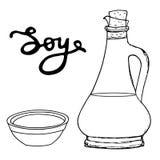 Botella de la soja con el cuenco y las letras dibujadas mano Vector que bosqueja el ob Imagen de archivo libre de regalías