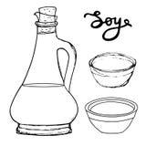 Botella de la soja con los cuencos y las letras dibujadas mano Vector g que bosqueja Fotos de archivo