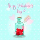 Botella de las tarjetas del día de San Valentín Fotos de archivo