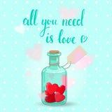 Botella de las tarjetas del día de San Valentín Imágenes de archivo libres de regalías