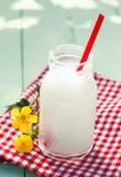 Botella de leche de cristal en mantel checkered Imagen de archivo