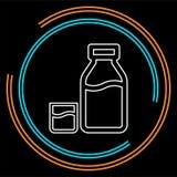 Botella de leche del vector y ejemplo de cristal ilustración del vector