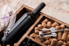 Botella de lujo de vino tinto y de vidrios vac?os con las uvas oscuras con los corchos y abrelatas dentro de la caja de madera de imagen de archivo