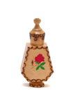 Botella de madera con petróleo color de rosa Imagen de archivo
