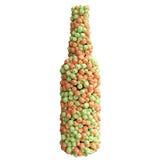 Botella de manzanas rojas y verdes Imágenes de archivo libres de regalías