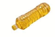 Botella de mentira de petróleo de girasol aislada imagenes de archivo