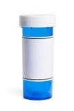 Botella de píldora azul Fotos de archivo libres de regalías
