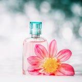 Botella de perfume con la flor rosada en el fondo del bokeh, vista delantera imagenes de archivo