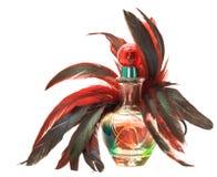 Botella de perfume con las plumas Imagen de archivo libre de regalías