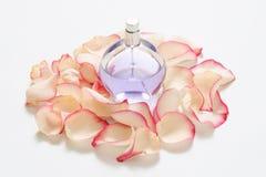 Botella de perfume con los pétalos de la flor en fondo ligero Perfumería, colección de la fragancia Accesorios de las mujeres fotografía de archivo libre de regalías