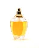Botella de perfume en el fondo blanco Fotografía de archivo