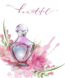Botella de perfume hermosa con las flores rosadas hermosas florecientes Vector de la plantilla imagenes de archivo