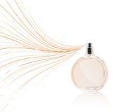 Botella de perfume que rocía líneas coloridas imagen de archivo
