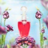 Botella de perfume y de flores en el fondo del cielo Cosmético floral y belleza de la naturaleza foto de archivo