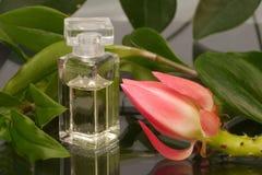 Botella de perfume y de una flor Imágenes de archivo libres de regalías
