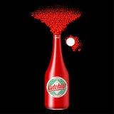Botella de salsa de tomate con la salsa dispersada Imagen de archivo