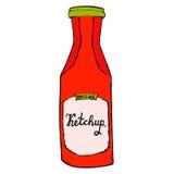 Botella de salsa de tomate Ejemplo incompleto dibujado mano del tarro de la salsa de tomate Imagen de archivo