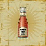 Botella de salsa de tomate retra Imagenes de archivo