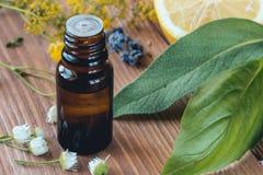 Botella de vidrio oscuro con el aceite esencial de la albahaca o el sabio para la salud y el aromatherapy foto de archivo libre de regalías