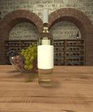 Botella de vino blanco con las uvas ilustración del vector