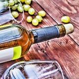 Botella de vino blanco thanksgiving Fotografía de archivo libre de regalías