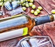 Botella de vino blanco thanksgiving Foto de archivo libre de regalías