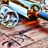 Botella de vino blanco thanksgiving Imágenes de archivo libres de regalías