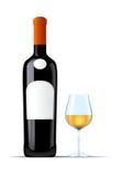 Botella de vino blanco y de vidrio de vino Imágenes de archivo libres de regalías