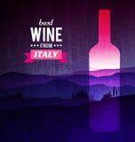 Botella de vino con el paisaje de Toscana ilustración del vector