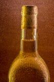 Botella de vino con las gotitas de agua Imagenes de archivo