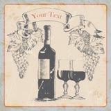 Botella de vino de la etiqueta del vintage del grunge del dibujo de la mano, vidrios, uvas, bandera Ilustración del vector Imagenes de archivo