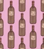 Botella de vino del bosquejo en estilo del vintage Imagen de archivo