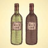 Botella de vino del bosquejo en estilo del vintage Fotografía de archivo