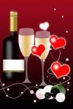 Botella de vino del fondo del día de tarjetas del día de San Valentín Imagen de archivo libre de regalías