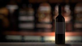 Botella de vino en barra Imagenes de archivo