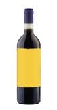 Botella de vino rojo aislada con la escritura de la etiqueta en blanco Imagen de archivo libre de regalías