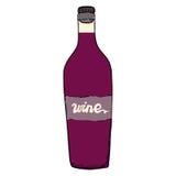 Botella de vino rojo con las letras Fotografía de archivo libre de regalías
