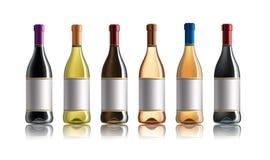 Botella de vino rojo Conjunto de blanco, de rosa, y de botellas de vino rojo Aislado en el fondo blanco ilustración del vector