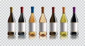 Botella de vino rojo Conjunto de blanco, de rosa, y de botellas de vino rojo Aislado en el fondo blanco libre illustration